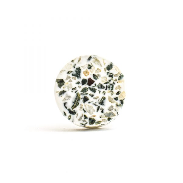 DSC 1452 Circle tera 600x600 - Round Green and Grey Terrazzo Knob