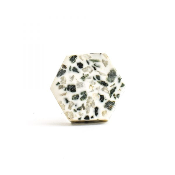 Hexagon Green and Grey Terrazzo Knob