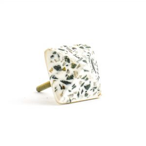 Square Prism Green and Grey Terrazzo Knob