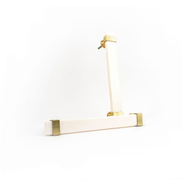 Rectangle White Resin and Brass Handle