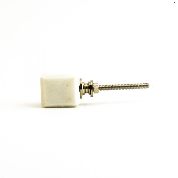 Cubed White Marble Knob