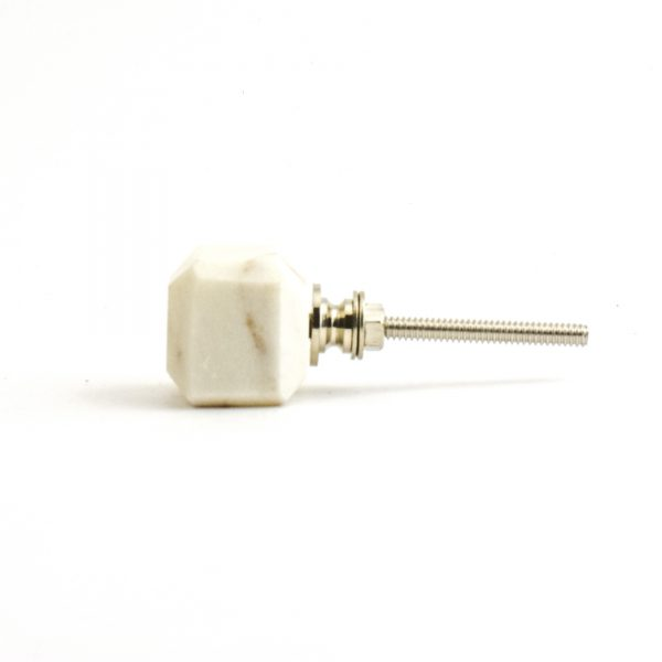 Bevel Edge White Marble Knob