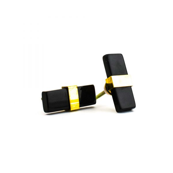 Rectangle Black Resin and Brass Pull