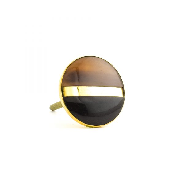 Black & Brown Brass Flat Knob