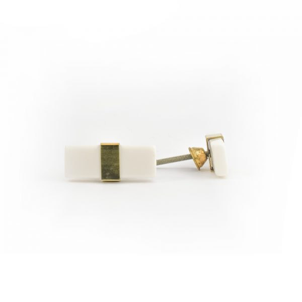 Rectangle White Resin and Brass Pull