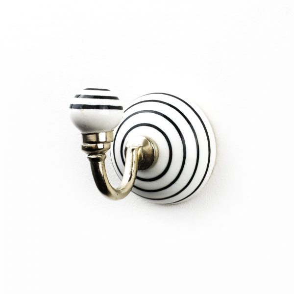 Black and White Striped Wall Hook