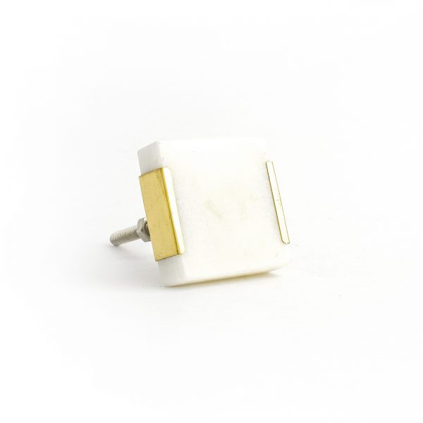 White Square Knob with Brass Trim