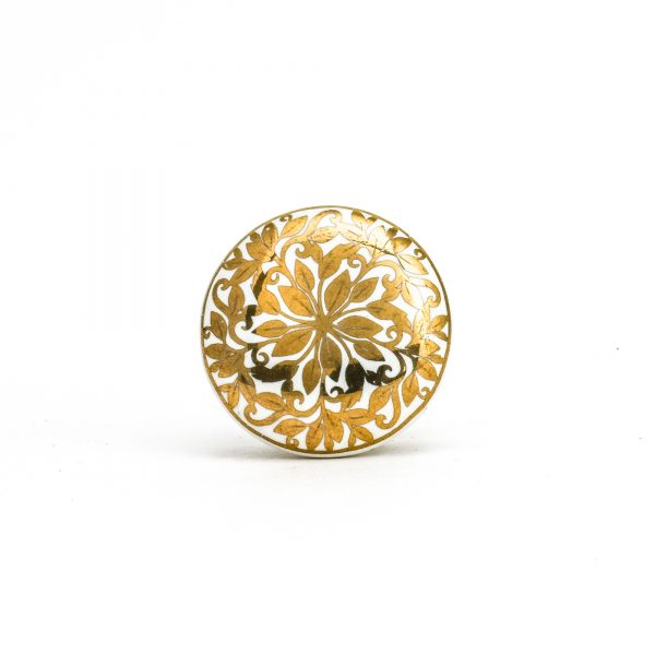 Round Gold Floral Knob