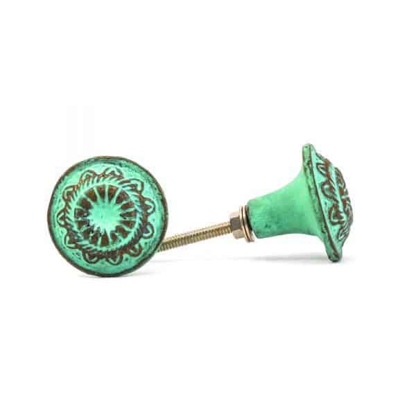 Jade Green Rustic Wheel Knob