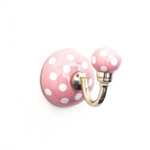 Pink Polka Dot Ceramic Wall Hook