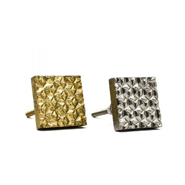 Gold Square Chiselled Iron Knob