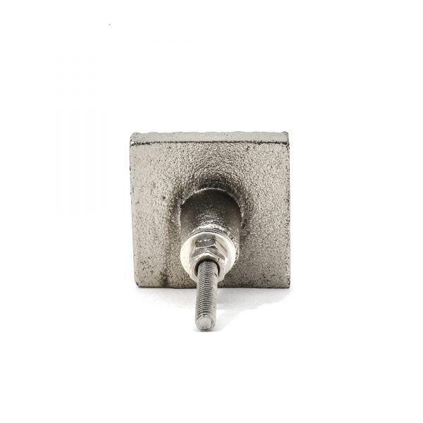 Silver Square Chiselled Iron Knob
