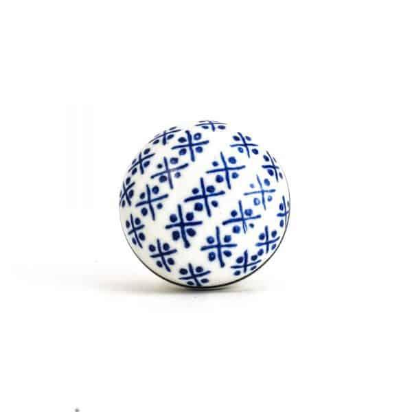 Blue and White Hamptons Ceramic Knob