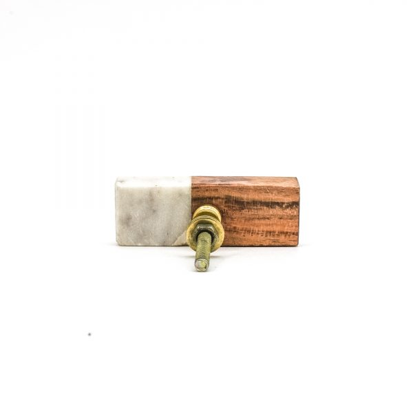 Rectangle Marble and Wood Duo Knob
