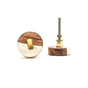 DSC 3144 Round wood white marble with brass detail knob 300x300 - Shop for Cabinet Handles, Cabinet Pulls & Wall Hooks