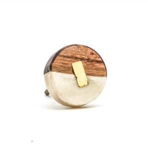 Round Marble and Wood Duo Knob