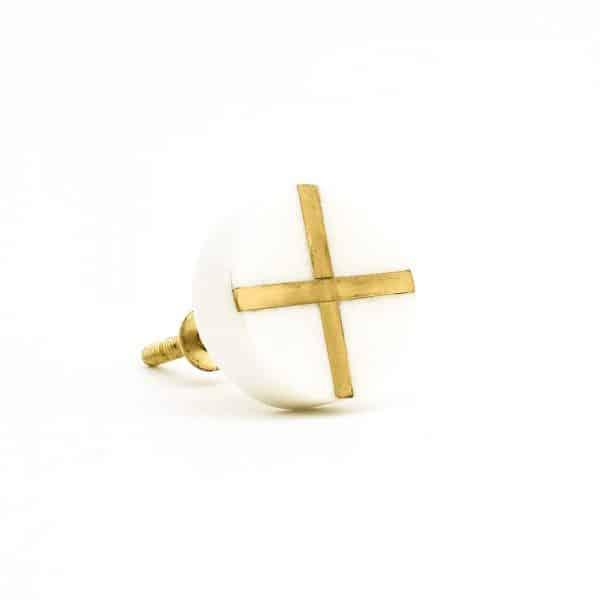 White Round Marble and Brass Intercross Knob