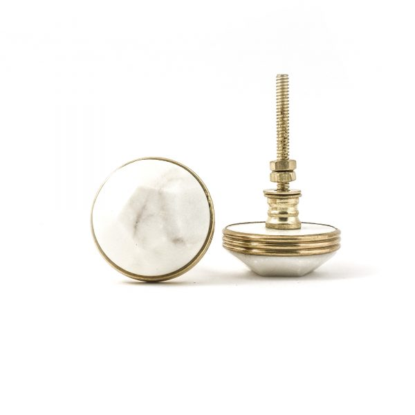 Marble and Brass Pentagon Knob