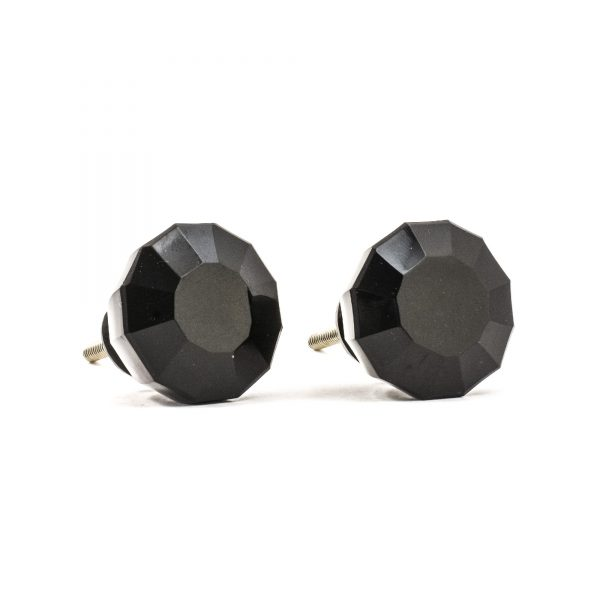 Solid Black Glass Knob