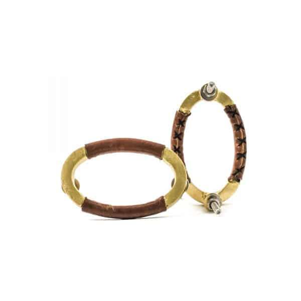 Oval Leather Cross Stitch Handle