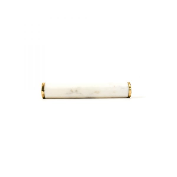 White Marble and Brass Cylinder Handle