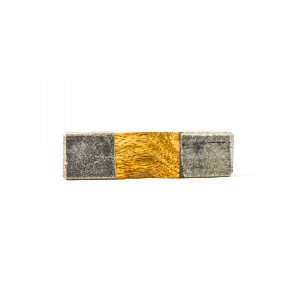 Wedged Grey Marble and Wood Pull Bar