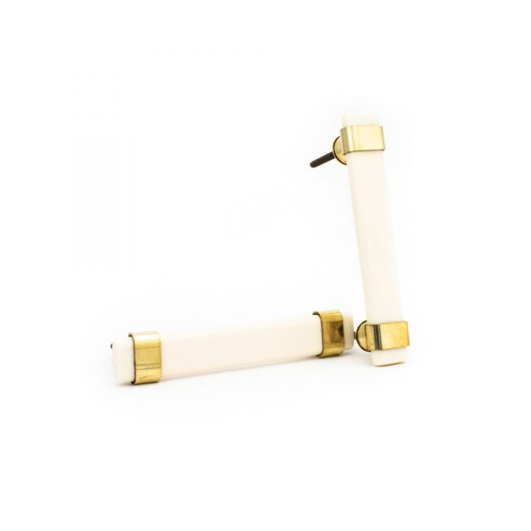 Creamy White Resin and Brass Handle