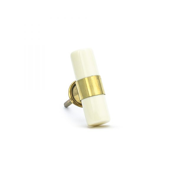 Creamy White Resin and Brass Pull