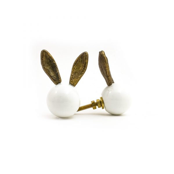 Glass and Antique Gold Bunny Knob