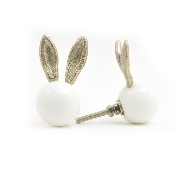 Glass and Silver Bunny Knob