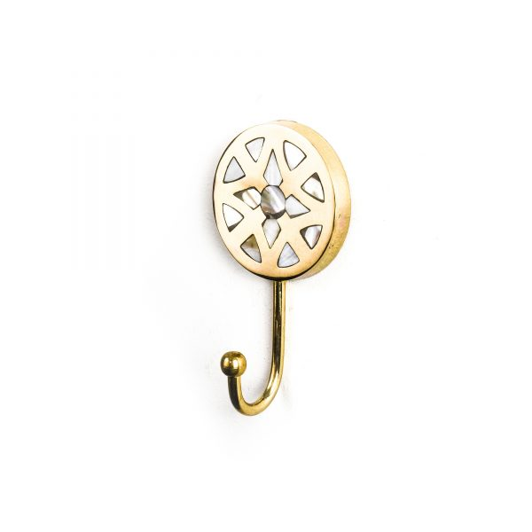 Gold Flower Inlay Wall Hook