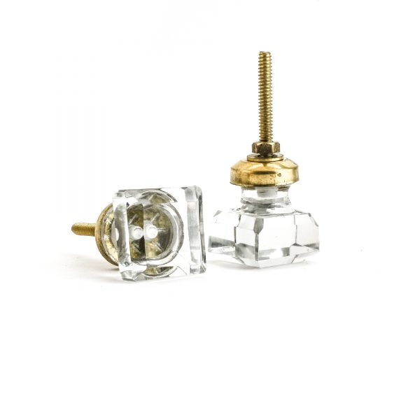 Clear Square Solid Glass Knob