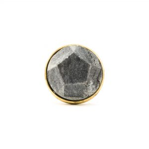 Grey Marble and Brass Pentagon Knob
