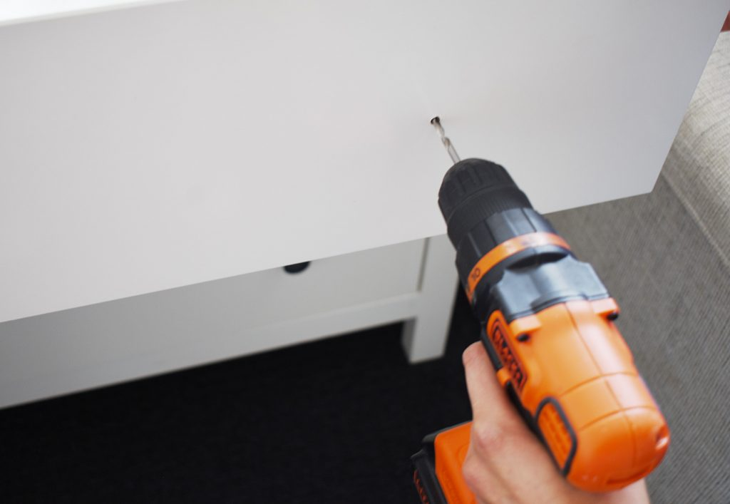 3A. DRILL HOLES OPTION 2  1024x707 - How to Install Cabinet Knobs, Cabinet Handles & Pulls