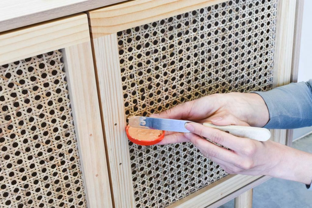 3A. APPLY PASTE OVER HOLES 1024x683 - How to Install Cabinet Handles with New Screw Holes