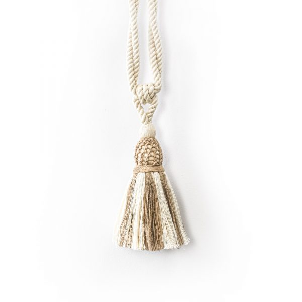 Natural Two-Tone Woven Rope Curtain Tie Back