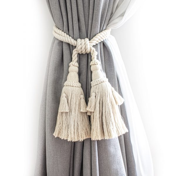 Large and Small Cotton Tassel Curtain Tie Back