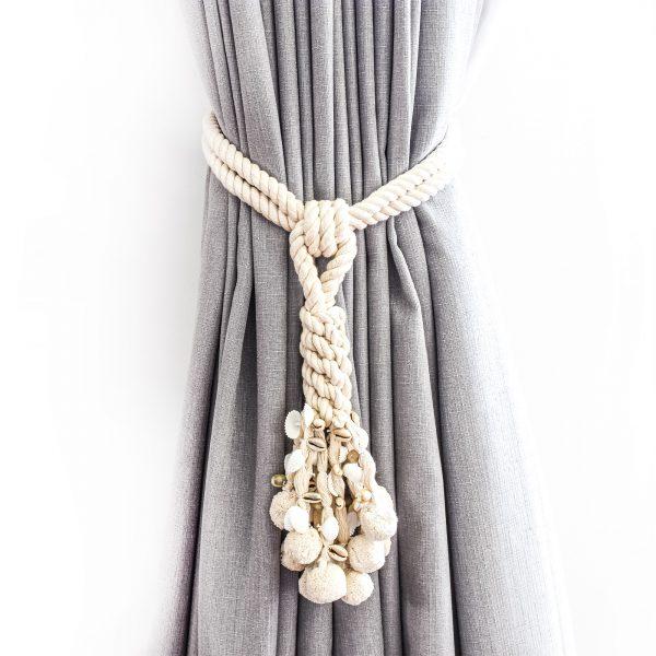 Shell and Pompom Cotton Curtain Tie Back