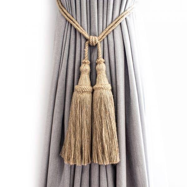 Large Classic Jute Tassel Curtain Tie Back