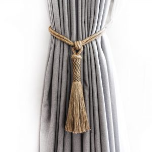 Jute and Black Zig-Zag Curtain Tie Back