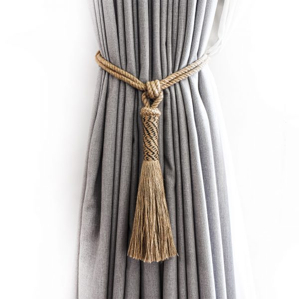 Jute and Black Zig-Zag Curtain Tie Back