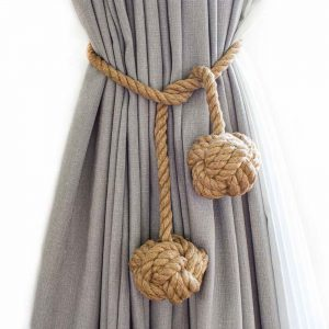 Double Knot Jute Curtain Tie Back