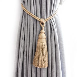 Jute Weaved Bell Curtain Tie Back