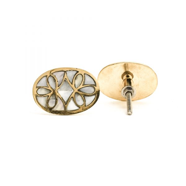 Oval Brass and MOP Knob