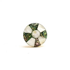 Small Brass Pinwheel MOP Knob