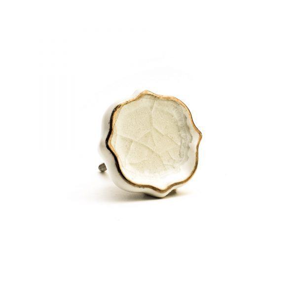 White Crackled Glass Emblem Knob