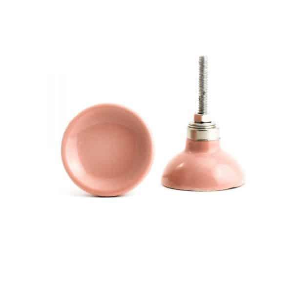 Salmon Pink Ceramic Disc Knob