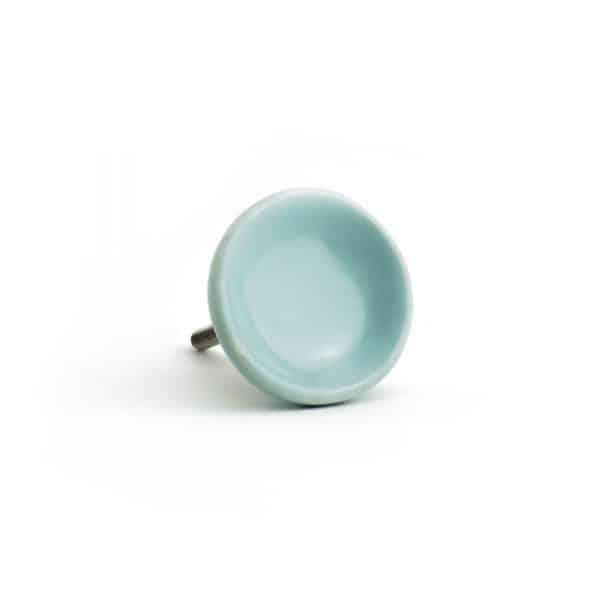 Eggshell Blue Ceramic Disc Knob