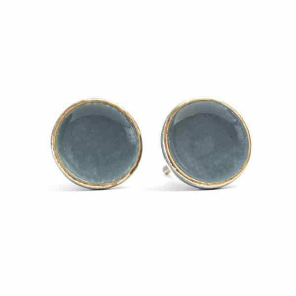 Dusty Blue Ceramic Disc Knob with Gold Rim