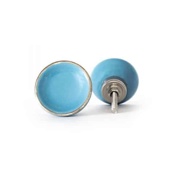 Sky Blue Ceramic Disc Knob with Gold Rim